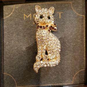 Monet Rhinestone Cat Brooch